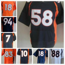 Wholesale Denver Football Jerseys - 2016 cheap Football Men's 58 Miller 88 Thomas jerseys 83 Wes Welker 7 John Elway 94 Ware Denver 10 Sander 18 Manning sport elite Rugby shirt