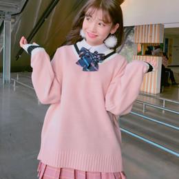 niedliche koreanische pullover Rabatt Korean Institute Wind Allgleiches  Strickpullover Frauen Nette V-Ausschnitt Hit Farbe e04ca9d24d
