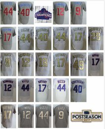 Wholesale Man Program - Men's 17 Kris Bryant 12 Kyle Schwarber 44 Anthony Rizzo 9 Javier Baez 40 Contreras White 2017 Gold Program Postseason Baseball Jersey