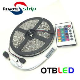 Wholesale Led Rgb 45w - RemoteStrip RGB LED Strip Light Waterproof IP65 60LEDs m 5M 5050 SMD Flexible RGB Lights with 24Key Mini IR Remote Controller