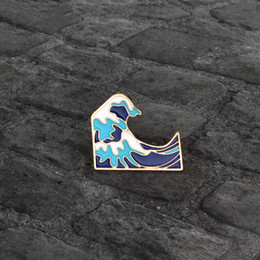 Wholesale Jacket Plating - Cartoon Sea wave Spindrift Brooch Pin Button Blue White Enamel Metal Pin Icon Jacket Backpack Badge Jewelry Wholesale Gift