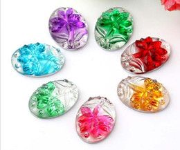 Wholesale Back Bags For Men - 100pcs 13*18mm Oval Resin Flower Bead Flat Back Beads For Sewing Wedding shoes Bag Fascinator Jewelry Diy Craft