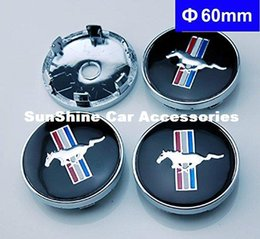 Wholesale Mustang Covers - 4pcs 60mm Car Emblem Badge Wheel Hub Caps Centre Cover Black for Ford Mustang Cobra Jet Shelby Car Wheel Center Caps