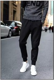 Wholesale Crotch Pants For Men - Wholesale-Designer Mens Harem Joggers Sweatpants Elastic Cuff Drop Crotch Drawstring Biker Joggers Pants For Men Black Red Green AY880