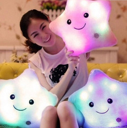 Wholesale Glow Pillow Stars - Hot Peradix LED Glowing Stars Plush Pillows Colorful Dolls Cushion Led Light Up Glow in Dark Stars Baby For Baby kids