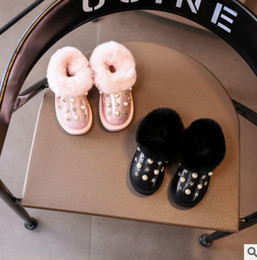 Wholesale Girls Shoes Rabbit - Baby kids toddler snow boots cute rivet beaded rabbit hair warm shoes 2017 new children winter boots girls shining casual boots T0113