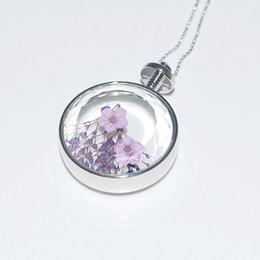 Wholesale Cabochon Resins - Wholesale-1 PC Unisex Real Dried Dry Flowers Floating Locket Necklace Round Resin Cabochon Living Pendant Glass Terrarium Accessories