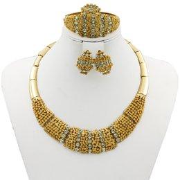 Wholesale Dubai Crystal Wedding - Free Shipping ~ ~ 2017 Dubai hot style flower shape 18K gold-plated jewelry set women's luxury crystal necklace bracelet earrings ring b