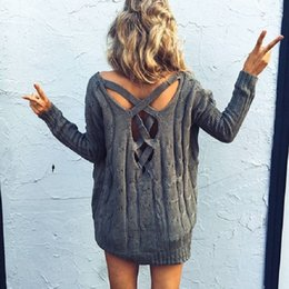 Wholesale White Cardigan Sweaters For Women - New Style Long Sleeve Knitted Pullover Girl Sweaters 2017 Irregular Holle out Back Fashion Sweaters For Women Loose Causal Outwear Sweaters