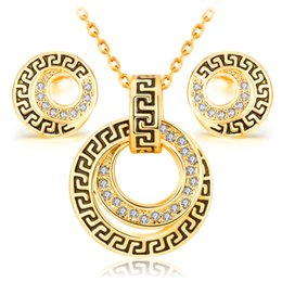Wholesale Fashion South Africa - jewelry sets vintage platinum 18k Rose Gold fashion classic crystal women girl charm rhinestone necklaces earring popular Africa set jewelry