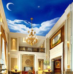 Wholesale Europ Style - Europ European Wallpaper Blue sky white clouds crescent star 3D Sky Ceiling Mural Decoration