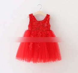 Wholesale Striped Sundress - Christmas Girls Dresses 2016 New Lace Flower Tulle Kids Tutu Dresses Sequin Butterfly Children Princess Dress Girl Sundress 7051