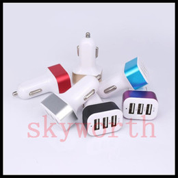 Wholesale Auto Plugs - 5.1A 3 USB Car Charger Travel Adapter Auto Car Plug For iPhone 6 6s Plus Samsung Galaxy S6 S7 Edge
