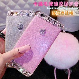 Wholesale Decorations For Mobile Phone Case - Rex Rabbit Fur Ball Phone Case With Bling Diamonds Decoration Paillette Mobile Phone Cases with Adjustable Sling Back Cover for Iphone