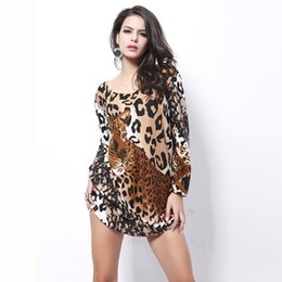 Wholesale Sexy Lycra Dresses Leopard - Woman Spring Plus Size O Neck Diamonds Full 45% Cashmere Loose Dresses Female Fall Oversized Leopard Print Hedging Mini Dress