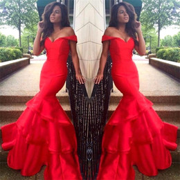 Wholesale Ombre Mermaid Dress - Red Mermaid Evening Dresses Off The Shoulder Long Prom Dress Ombre Party Gowns Sexy 2016 Tiered Skirts Long Celebrity Dress BA2322
