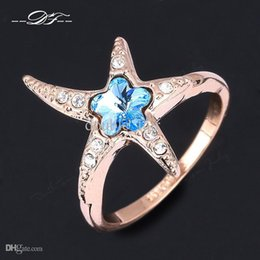 Wholesale Starfish Jewelry Sets - Love Starfish Shine Designer CZ Diamond Party Rings Wholesale 18K Gold Plated Crystal Engagement Jewelry For Women Anel DFR327