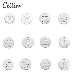 Wholesale Stainless Zodiac Pendant - 2017 Hot kawaii pendants 12 zodiac charms for jewelry making round polishing stainless steel silver charms fitting DIY bracelets & necklace
