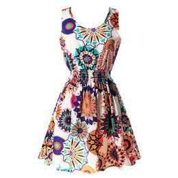 Wholesale Leopard Night Gowns - Wholesale- 2017 Hot 20 color Women Casual Bohemian Floral Leopard Sleeveless Vest Printed Beach Chiffon Dress