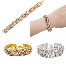 Wholesale Slave Wear - 2016 Bling Rhinestone Bracelet Gold Sliver Charm Bracelet Jewelry Wristband Slave Bracelet Evening Party Wear Gift E838L
