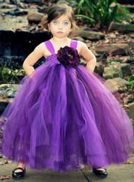 Wholesale Kids Sun Dresses - Purple Baby Girls Childrens Kids Dancing Tulle Tutu Dress Flower Girl Dresses Fancy Photography Costume Sun Flower Free Shipping