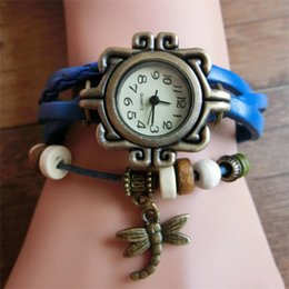Wholesale Green Wooden Beads - Antique bracelet ladies watches weaved leather band with dragonfly charm and wooden beads quartz wristwatch women watches