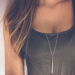 Wholesale Chains For Sale - Wholesale Hot sale Simple Sliver Gold Plated Chain Necklace lariat Charm Bar Necklaces&Pendants For women gift Free shipping