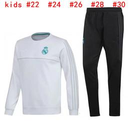 Wholesale Sport Wear Kids Boy - 2017 2018 Kids Long Sleeve Real Madrid Tracksuit Jogging Boys Soccer kit Football Suit Youth Sport Wear Children 17 18 Ronaldo training SUIT