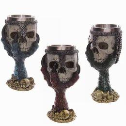 Wholesale White Goblets - Wholesale- LIYIMENG Double Wall Stainless Steel 3D Skull Drinking Whisky Mug Personalized Dragon Bone Skull Metal Grape Wine Goblet