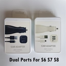Wholesale Iphone Original Logo - 2 In 1 Dual Ports Original Type-C Micro USB Fast Car Charger Usb Cable For Samsung Galaxy S6 S7 S8 Edge With Logo With Retail Package