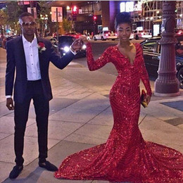 Wholesale Girl Dresses One Shoulder - 2k16 Red Sexy Bling Red Sequined Mermaid Prom Dresses 2016 African Black Girl Long Sleeves V Neck Special Occasion Prom Gowns Evening Vestid