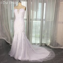 Wholesale Collections Photos - Strapless Mermaid Special Lace Tulle Romantic Wedding Dresses Real Photo Factory New Collection Custom Made Bridal Gown