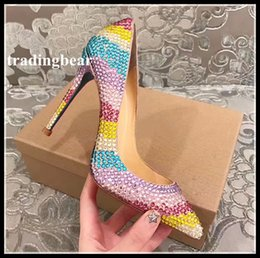 Wholesale Pointed Bottom Crystal Rhinestones - Sexy high heels red bottom rainbow colorful crystal rhinestone pumps wedding shoes christmas party size 33 to 40 41