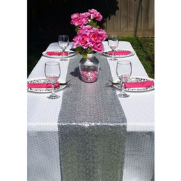 Wholesale Table Runners Sequins - Most Cheap!!! Silver Gold Sequin Table Runner For Wedding Event Party Banquet Christmas Wedding Table Decoraiton (30cm by 180cm)