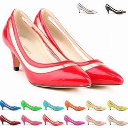 Wholesale burgundy patent leather platform heels - Sexy Pointed Toe Middle Heels Women Pumps Shoes Brand New Design Less Platform Pumps 11 colors US Size 4-11 D0013