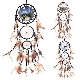 Wholesale Tang China Wholesale - Dream Catcher with Feather Wolf Handmade Wall Hanging Decoration Ornament Car Home Hanging Hoops Craft Dreamcatcher