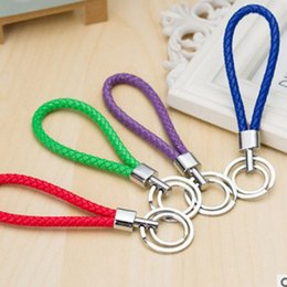 Wholesale Double Loop Chains - Metal leather rope 13 style car key chain Double loop bag Charms buckles pure manual weaving leather cord couples hang Pendant