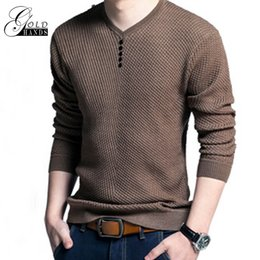 Wholesale Long Solid Color Warm Knit - Gold Hands Male Solid Sweater Pullover V-neck Long Sleeve Tops Warm Wool Casual Basic Slim Knitted Men Autumn Winter Sweaters