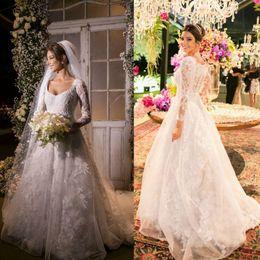 Wholesale Irregular Pearls - 2016 Full Lace Elegant Wedding Dresses Irregular Neck Sheer Long Sleeve Bridal Gowns Zipper Back Sweep Train Vintage Bride Dresses