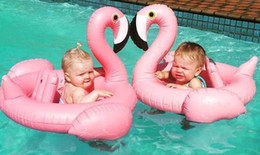 Wholesale Red Pool Water - Free shipping Brand New Baby Inflatable Flamingo Swimming Ring Summer Ride-on Pool Toy Kid Holiday Beach Water Fun Pool Toys Swim Rings
