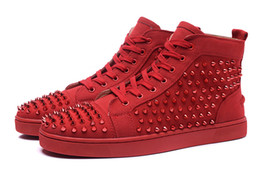 Wholesale Cheap Womens High Tops - Cheap red bottom sneakers for men women with Spikes red suede fashion high top casual mens shoes ,2016 mens womens leisure trainer footwear