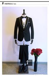 Wholesale Designer Wool Dresses - Handmade slim formal dress wool flat mens Italian designer suits zipper fly wedding suits groom free shipping