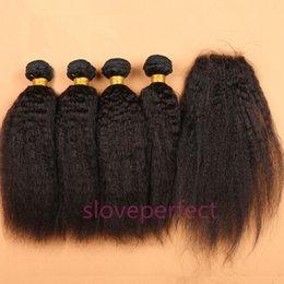 Canada Brésiliens Afro Kinky Cheveux Raides avec Fermeture Italien Coarse Yaki Vierge de Cheveux Humains Weave Bundles avec Dentelle Fermetures 5 pcslot supplier virgin hair 5pcs kinky closure Offre