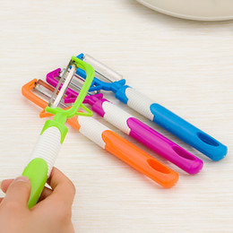Wholesale ceramic knives sets - Long Handle Stainless Steel Peeler Multi Function Creative Fruit Knife Family Kitchen Necessary Vegetable Tool Hot Sale 0 55yy J R