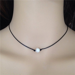 Wholesale Freshwater Lobsters - White Pearl Leather Necklace Freshwater Cultured Floating Real Pearl Choker with Lobster Clasp Handmade Women Jewellery Accessories