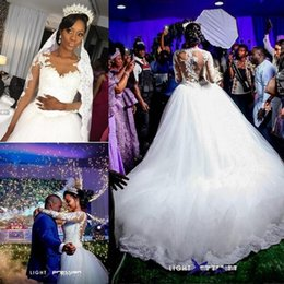 Wholesale africa train - Vintage 2017 South Africa Sheer O Neck Wedding Dresses Lace Long Sleeve Crystal Illusion Back Sweep Train Wedding Bridal Gowns Custom Made