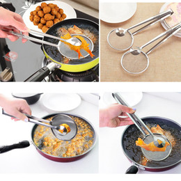 Wholesale Wholesale Frying Oil - Multi-functional Stainless Steel Clamp Strainer Filter Spoon With Clip Food Kitchen Oil-Frying Salad BBQ Filter Spoon tool
