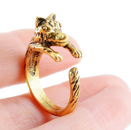 Wholesale wolf fingers - Fire Animals Wolf Head Ring Top Quality Punk Style Men Boy Fashion Animal Wolf Ring Punk Biker Jewelry Finger Fashion Gifts