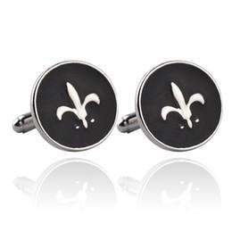 Wholesale Black Fleur Lis - High Quality Shirt Brand Cuff Buttons Army Emblem Cufflinks For Mens Fleur De Lis Best Friend Black Enamel Cuff Links 816-4