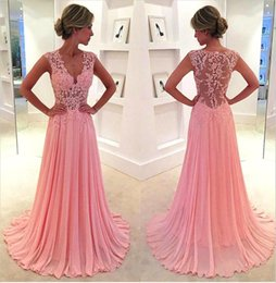 Wholesale Tank Prom Dresses - Cute Pink A-Line Prom Dresses 2016 New Arrival V-Neck Sleeveless Tank Sheer Back Applique Lace Up Party Evening Dress For Black Girl Gowns